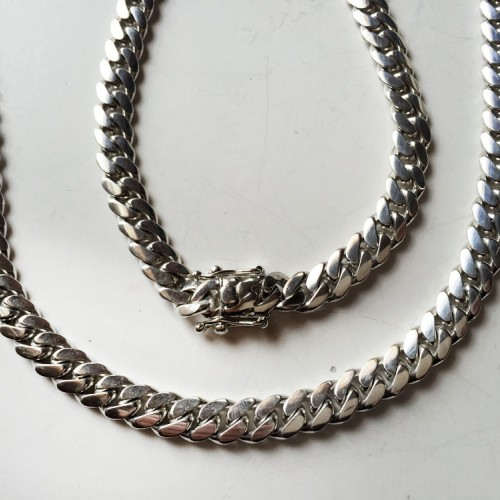 10.5 mm Miami solid Cuban link Fine .999 silver hand made chain necklace  27.5 inches
